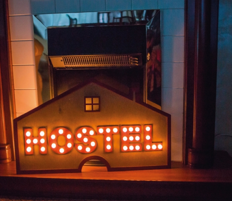 Light Up Hostel Sign, Wall Lamp