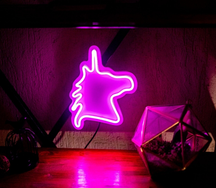 Unicorn, Unbreakable Neon Sign, White background