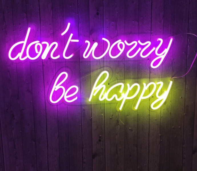 Don't worry be happy, Unbreakable Neon Sign, Neon Letters, Transparent background
