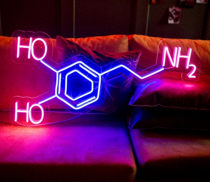 Molecule of Dopamine, Unbreakable Neon Sign, Love Sign, Pleasure Sign