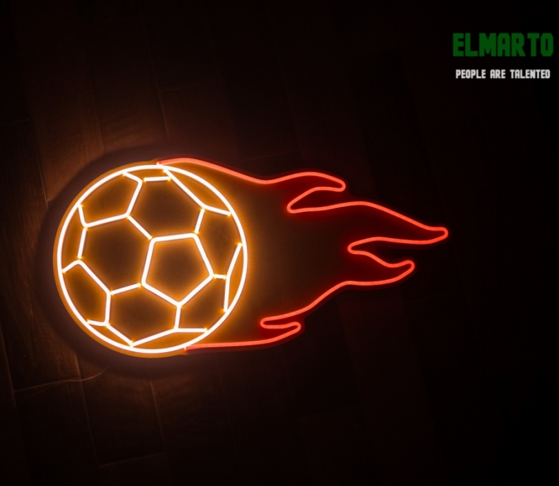 Soccer Ball, Football on Fire, Unbreakable Neon Sign, Football Sign, Sport Sign