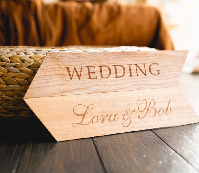 Customized Wooden Table Sign, Handmade of wood